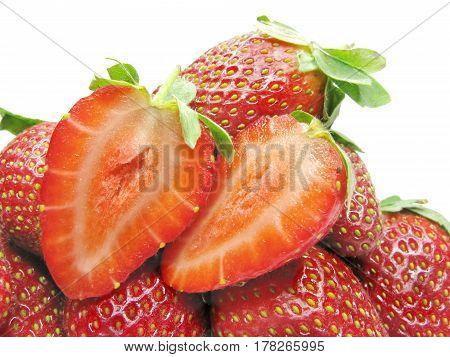 many ripe strawberries fruit isolated on white