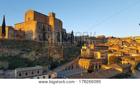 Panorama view of Siena during the sunset