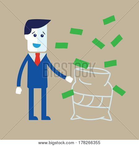 Businessman in a suit catching money vector