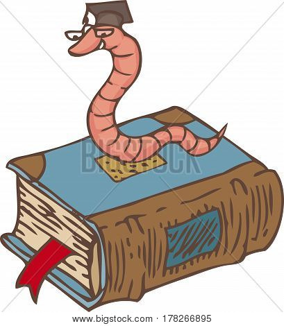 Bookworm on the Closed Book with Red Bookmark and Blue Cover. Isolated on White Background
