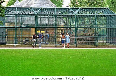 Strasbourg France - july 24 2016 : zoo of the Orangerie park in summer