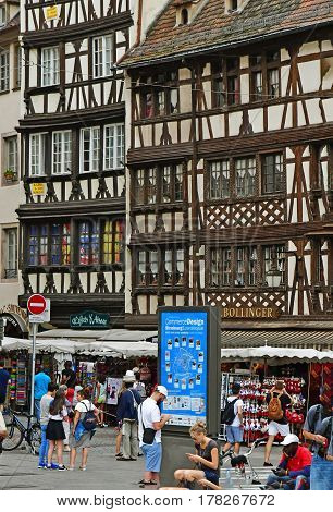 Strasbourg France - july 24 2016 : the picturesque city center in summer