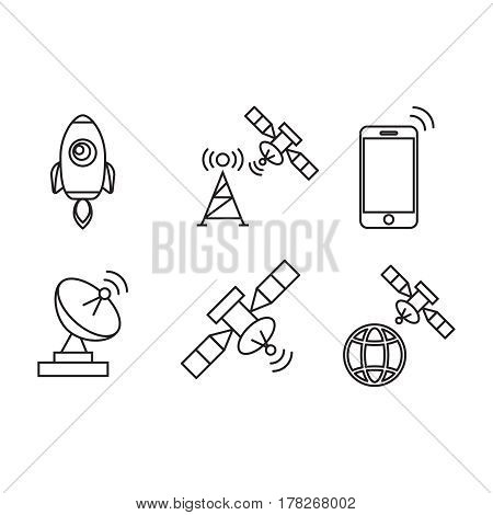 Satellite communication wireless satellite connection satellite technology icons