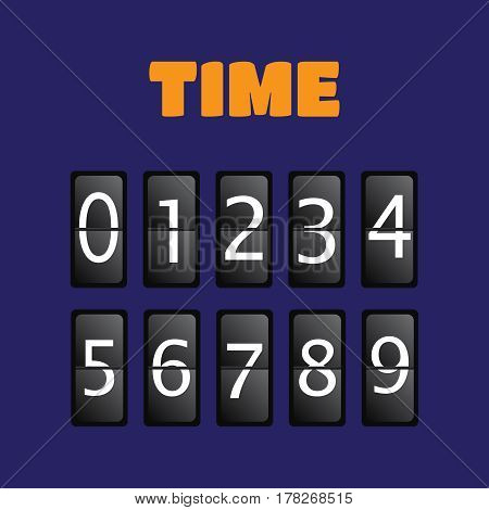 Wall flap counter clock template. Time clock vector