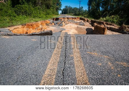 A broken road because of a hurricane