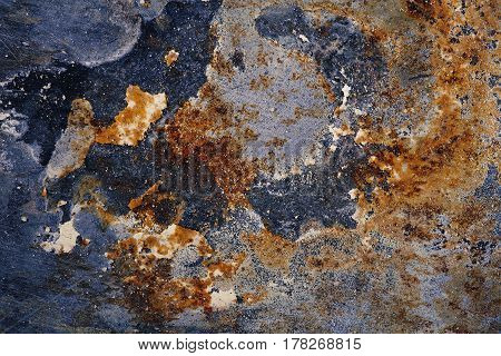 Stained iron plate with rust texture. Background for text