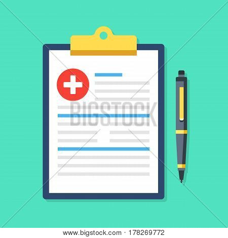 Clipboard with medical cross and pen. Clinical record, prescription, claim, medical report, health insurance concepts. Premium quality. Modern flat design graphic elements. Vector illustration