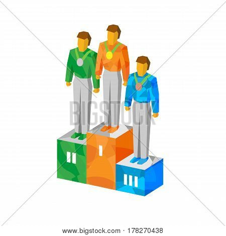 Isometric Champions On Pedestal With Medals