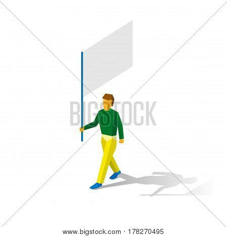 Isometric Flag Bearer With Blank Standar On White Background