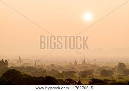 Sunrise Scene At Pagoda Field In Bagan,myanmar