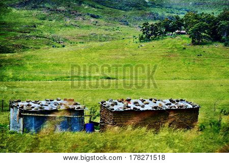 Landscape with rural hut's on the slopes of the Drakensberg