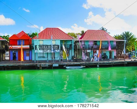 St. John's, Antigua and Barbuda - February 07, 2013: St John's, the chief port of the island of Antigua.