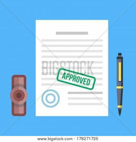 Approved document with stamp and pen. Approved application concepts. Top view. Premium quality. Modern flat design graphic elements for web banners, websites, infographics. Vector illustration
