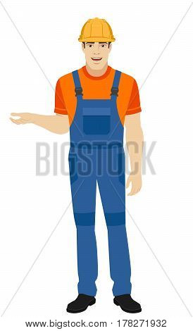Builder talking and gesturing. Full length portrait of builder in a flat style. Vector illustration.