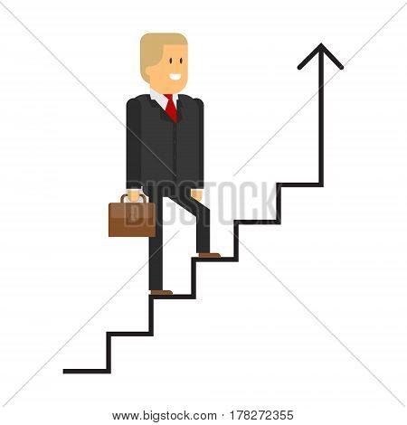 The businessman climbs the stairs. Vector up. Career ladder