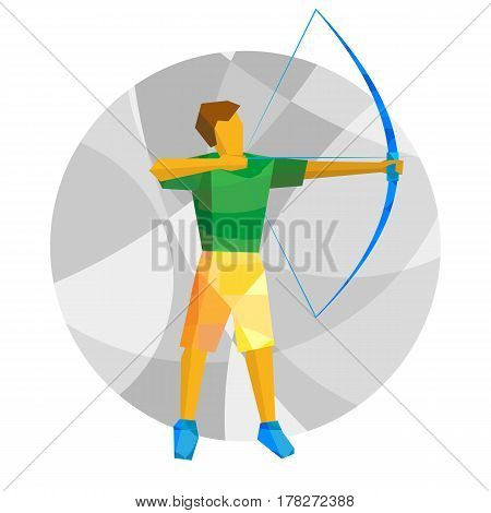 Shooting Archer. Athlete With Bow On Gray Background