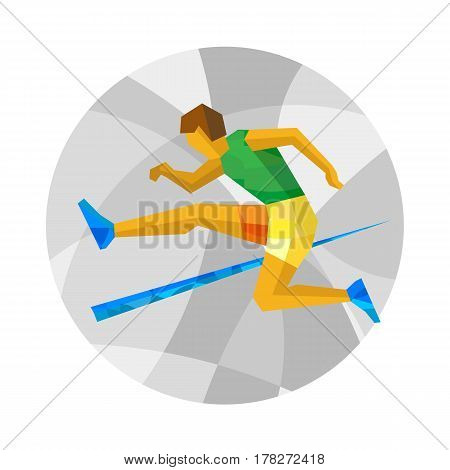 Obstacle Race Runner Jumping On White Background