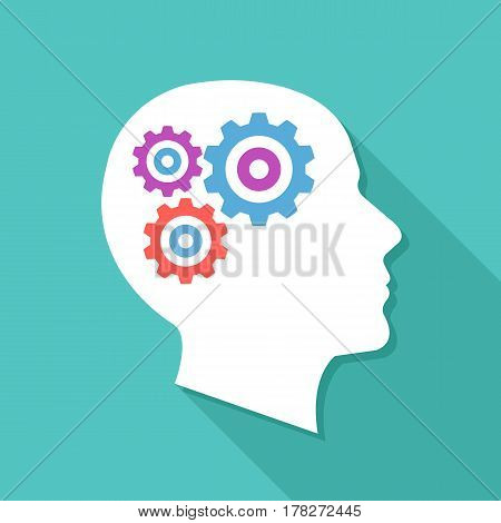 Human head with gears and cogs. Thinking process, idea generation, brain functioning. Modern graphic design for web banners, websites, printed materials, infographics. Flat design vector illustration