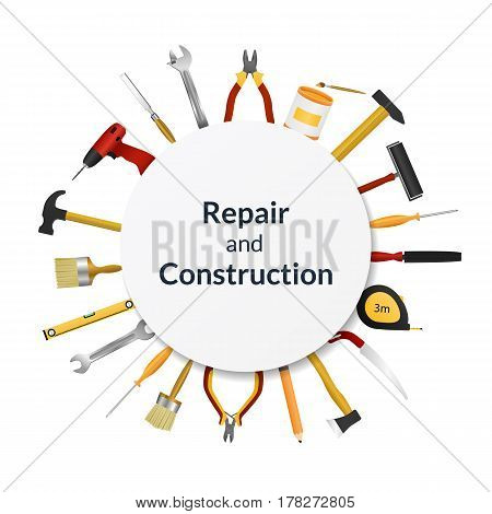 Vector illustration. Set of tools for repair and construction with frame for text. Design for banner, poster, business cards.