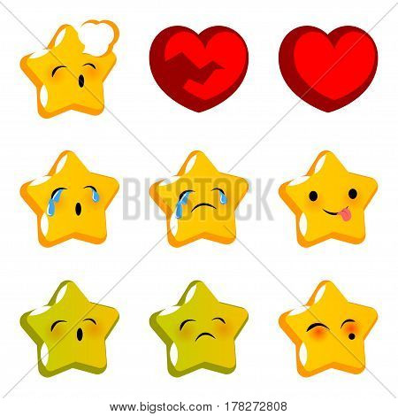 Emotional star faces smiles cry sick set. Vector illustration smile icon. Face emoji yellow icon. Smile cute funny emotion face. Red heart sad expression message sms.