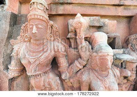 Hampi, India - 11 January 2015: Statue of Krisnha at Hampi on India