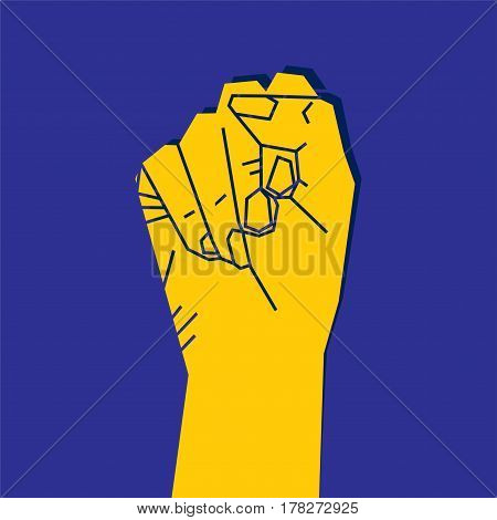Fist of revolution. hand up to protest design concept