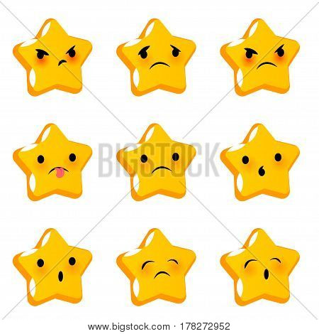 Emotional star cute sad poor faces smiles big set. Vector illustration smile icon. Face emoji yellow icon. Smile funny emotion face. Sad triste feelings expression message sms.