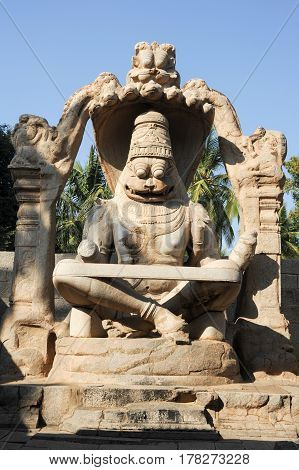 Statue Of Lakshmi Narasimha At Hampi On India