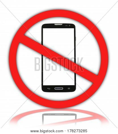 Do not use mobile phone. Warning sign and symbol.