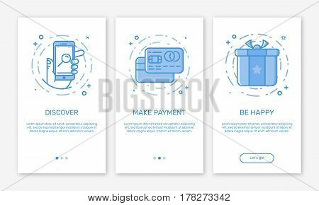 Vector Illustration of onboarding app screens and web concept online mobile payments application for apps in line style. Blue interface UX, UI GUI screen template for smart phone or web site banners.