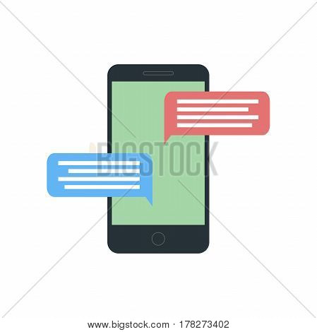 Mobile Phone With Messaging Icon. Hand hold smartphone. Creative flat design vector illustration.
