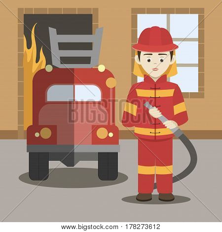 Fireman. A fireman spraying a water hose. Vector illustration, EPS 10
