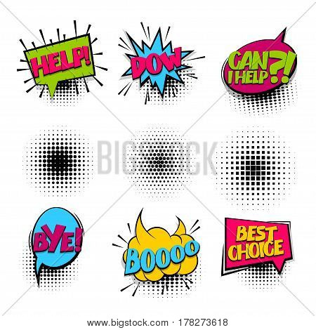 Best choice bye help set colored comic text sound effects halftone pop art style. Vector bubble icon speech phrase cartoon exclusive font burst sounds dot background. Comics book balloon