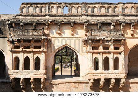 Hampi, India - 11 January 2015: Queen's bath temple at Hampi on India