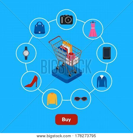 Vector illustration. Set of icons online shop. Shopping cart with bags and gift boxes.Clothing, eyeglasses, smartphone, camera. Design for web banner, business card, poster. E-Commerce.