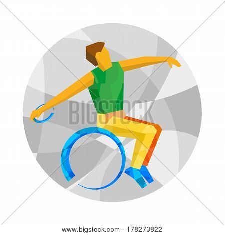 Wheelchair Sportsman Throwing Discus. Flat Sport Icon.