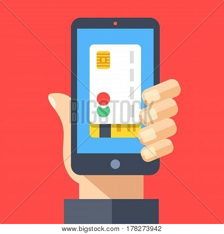 Credit card on smartphone screen. Hand holding smartphone. Mobile payment, pay with mobile phone, contactless payment. Concept for web banner, web sites, infographics. Flat design vector illustration
