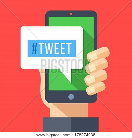 Tweet message on smartphone screen. Hand holding smartphone. Reading or writing tweet on mobile device. Modern flat design graphic elements for web banner, web sites, infographics. Vector illustration
