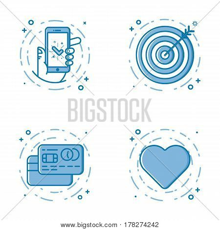 Vector business illustration set of flat bold line icons with hand and mobile phone, target goal, credit cards, heart icon. Graphic design concept of e - commerce. Blue outline isolated object.