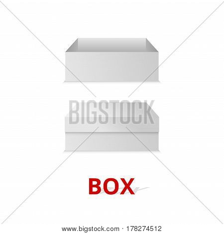 Realistic square white box isolated on white background.Vector illustration.