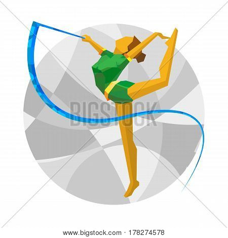 Rhythmic Gymnastics With Ribbon With Abstract Patterns