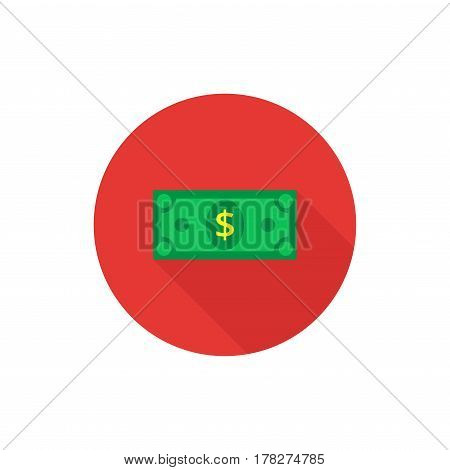 Cash Icon in flat style. Dollar banknote green. Vector illustration.