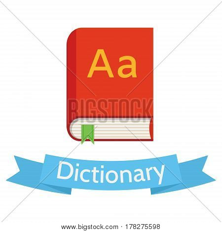 Flat style design vector illustration of red English dictionary book and blue ribbon isolated on white.
