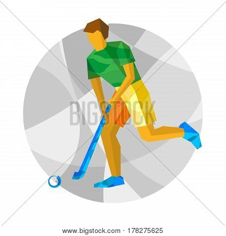 Running Field Hockey Player With Abstract Patterns