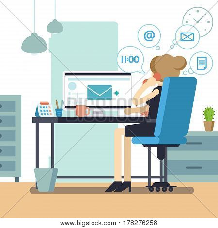 Woman Secretary Or Female Personal Assistant Busy. Young Office Manager Or Receptionist Multitasking