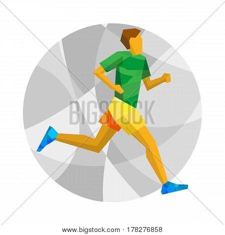 Marathon Runner On Gray Background With Patterns