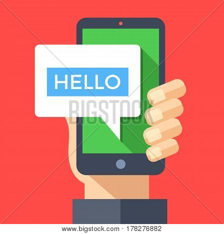 Hand holding smartphone with hello message on screen. Instant messaging, IM, SMS text messaging, online chat concept. Modern graphic elements for websites, web banners. Flat design vector illustration