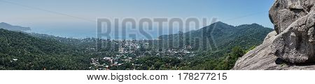 Panoramic View from hill of Koh Tao Thailand
