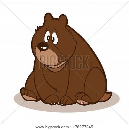 Cute baby brown bear. Bear cartoon. Vector stock.