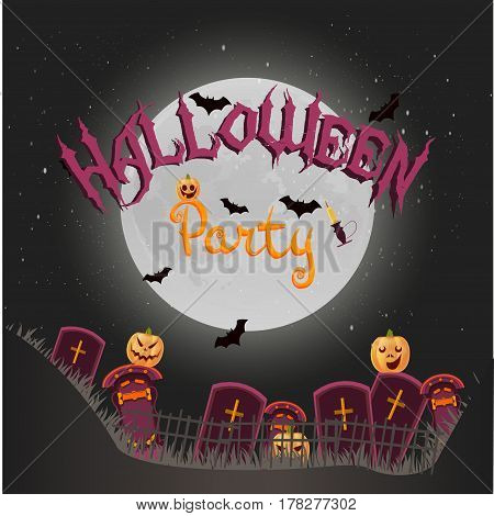 Halloween background with crosses, night, pumpkins, candle and full moon